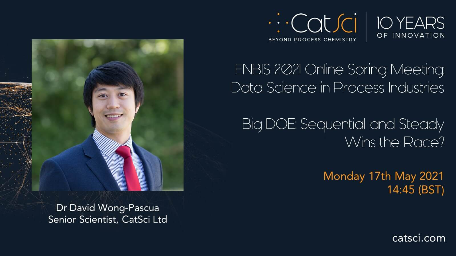 CatSci Senior Scientist, Dr David Wong-Pascua, to present at ENBIS 2021 Online Spring Meeting