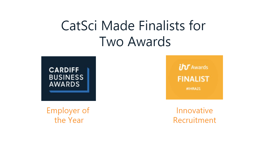 CatSci Finalists Awards - White banner image showing the Cardiff Business Awards logo and the In-house recruitment awards logo.